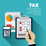 Document and calculator icon. Tax and Financial item. Vector gra. Tax and Financial item concept represented by document and calculator icon. Colorfull and flat Stock Image