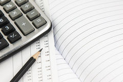 Document,calculator and pencil Royalty Free Stock Photo
