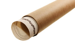Document into a cardboard tube. Isolated on white background Royalty Free Stock Image