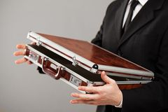Document case in businessman hands Royalty Free Stock Photo
