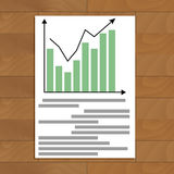 Document with chart up. Ducument with chart up. Economic rate profit infomation, infochart and color diagram, vector illustration Stock Photo