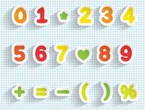 Document cijfers en wiskundetekens Met de hand gemaakte doopvont Stock Afbeelding
