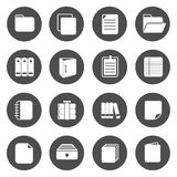 Document Circle Icons. With black circle Stock Photos