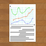 Document with color curve line graphic. Finance economy growth profit chart, vector illustration Royalty Free Stock Photography