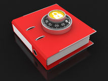 Document and Combination lock (clipping path included) Stock Photos