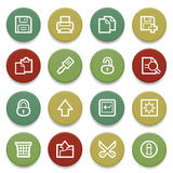 Document contour icons on color buttons. Royalty Free Stock Photo