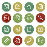 Document contour icons on color buttons. Royalty Free Stock Photos
