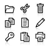 Document contour web icons. Vector web icons, black contour series Royalty Free Stock Photo