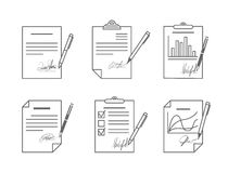 Document or contract with signature Stock Photos
