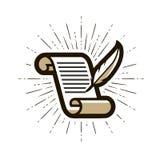 Document, contractembleem of etiket Literatuur, brieven, ganzepen en document pictogram Vector illustratie vector illustratie