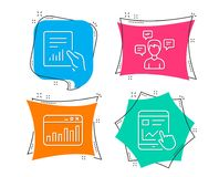 Document, Conversation messages and Marketing statistics icons. Internet report sign. Set of Document, Conversation messages and Marketing statistics icons Stock Images