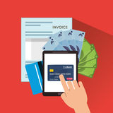 Document credit card tablet Royalty Free Stock Images