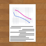 Document with crisis reports. Infochart economy, infograph data, vector illustration Royalty Free Stock Photo
