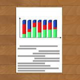 Document with 3d chart. Report development analytics, infochart with red curve, vector illustration Royalty Free Stock Photography