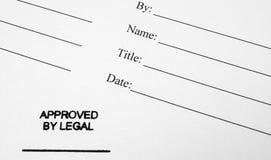 Document d'entreprise approuvé par juridique  Photographie stock libre de droits