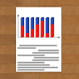 Document with 3d graphic. Infochart colored, analysis diagram finance, vector illustration Stock Photography