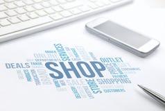 Document d'impression de nuage de mot de concept de boutique, clavier, stylo images stock