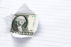 Document dat met venster wordt gescheurd dat tonend de dollar van de V.S. opent Stock Foto