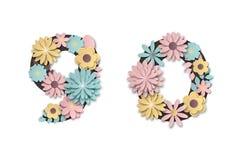 Document de cijfers van de kunstbloem Mooi romantisch zacht cijfer in pastelkleuren vector illustratie
