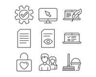 Document de couples, de vue et icônes de service Les conférences de Web, l'ordinateur portable de document et de Copyright signe illustration de vecteur