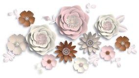 Document de kunst, de zomer bloeit op een witte achtergrond met bladerenbesnoeiing van document Vector voorraadillustratie Royalty-vrije Stock Foto's