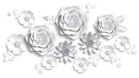 Document de kunst, de zomer bloeit op een witte achtergrond met bladerenbesnoeiing van document Vector voorraadillustratie Royalty-vrije Stock Afbeeldingen