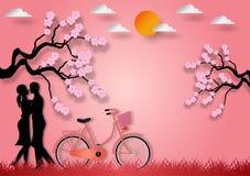 Document de kunststijl van de mens en de vrouw in liefde met fiets en kers komen op roze achtergrond tot bloei Vector illustratie stock fotografie