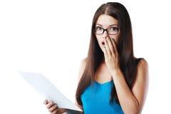 Document de lecture de femme Images stock