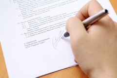 Document de signature Images libres de droits