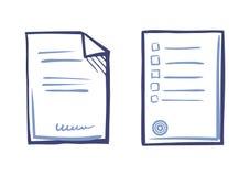 Document de Uiteinden van de Bladlijst, Ondertekende Contracttekst, Zegel stock illustratie