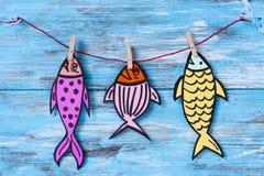 Document de vissen voor april voor de gek houdt dag stock fotografie