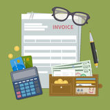 Document de vorm van de documentrekening Concept rekeningsbetaling Belasting, ontvangstbewijs, rekening Portefeuille met contant  stock illustratie