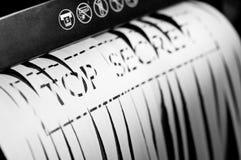 Document in document ontvezelmachine royalty-vrije stock foto