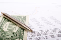 Document with dollars Royalty Free Stock Photos