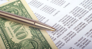 Document with dollars Royalty Free Stock Photography