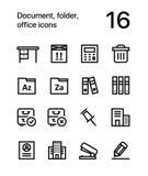 Document, dossier, icônes de bureau pour le Web et paquet mobile 3 de conception illustration de vecteur