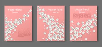 Document drie sneed document banners Ontwerpuitnodiging, reclame, tekens, brochures Plaats voor tekst Witte bloemen vergeten-me stock illustratie