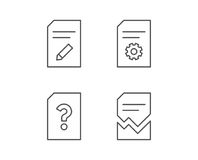 Document, Edit and Corrupt file line icons. Royalty Free Stock Images