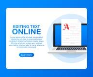 Document en ligne Editable Écriture et fabulation créatives, rédaction publicitaire Éducation en ligne, concept de étude éloigné illustration stock