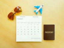 Document et équipement pour le voyage d'été Photo libre de droits