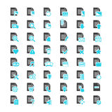 Document File blue and black icons. File icon vector set.Vector big set Document File blue and black icons  on a white background in flat style Stock Photos