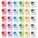 Document file extensions. With labels Royalty Free Stock Image