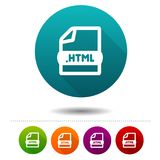 Document file icon. Download HTML symbol sign. Web Button. Eps10 Vector Stock Image