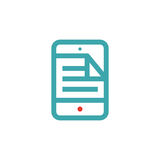 Document file icon on tablet screen vector illustration. File icon on tablet touchscreen. Open document icon. File icon on blue tablet screen royalty free illustration