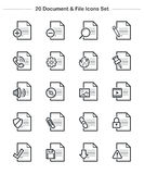 Document & File icons set, Line Thickness icons Stock Photography