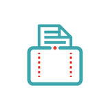 Document file mail icon on tablet laptop vector illustration. File icon on pad pc laptop. Open document in message icon. File icom on red and blue tablet pc Royalty Free Stock Photo