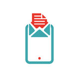 Document file mail icon on tablet laptop vector illustration. File icon on pad pc laptop. Open document in message icon. File icom on red and blue tablet pc Stock Photos