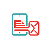 Document file mail icon on tablet laptop vector illustration. File icon on pad pc laptop. Open document in message icon. File icom on red and blue tablet pc Royalty Free Stock Photography