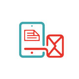 Document file mail icon on tablet laptop vector illustration. File icon on pad pc laptop. Open document in message icon. File icom on red and blue tablet pc Stock Image