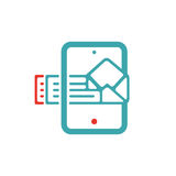 Document file mail icon on tablet laptop vector illustration. File icon on pad pc laptop. Open document in message icon. File icom on red and blue tablet pc Royalty Free Stock Images